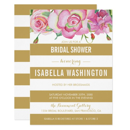 Pink Roses & Gold White Stripes Bridal Shower Card