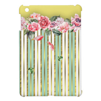 Pink Roses Green and Gold Stripes Green Diamonds iPad Mini Cover