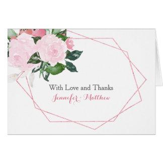 Pink Roses Greenery Geometric Thank You Card