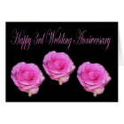 Pink Roses happy 3rd Wedding Anniversary Card