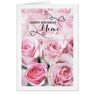 Pink Roses Happy Birthday Mimi Card