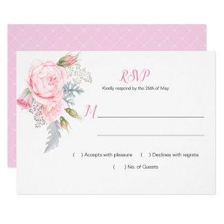 Pink Roses Hydrangeas Greenery RSVP Card