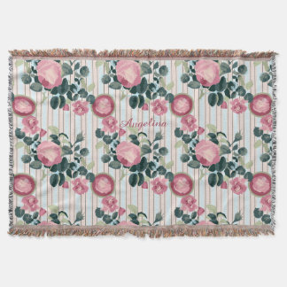 Pink Roses Illustration Blue Peach Stripes Pattern Throw Blanket