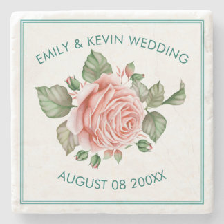 Pink Roses Illustration Wedding Template Stone Coaster