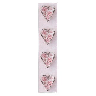 Pink roses in a copper cookie cutter short table runner