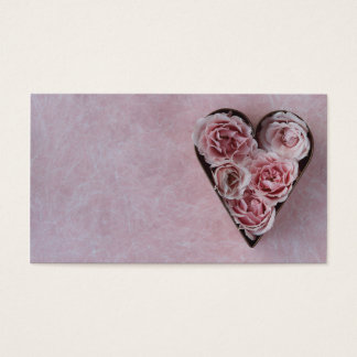 pink roses in a heart-shaped cookie cutter business card