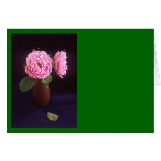 Pink Roses In A Vase Card