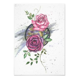 Pink roses in space, art print