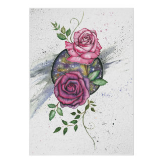 Pink roses in space, poster