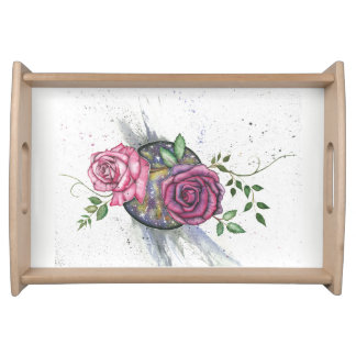 Pink roses in space, serving tray