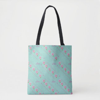 Pink Roses Love Lines Blue Green Tote Bag