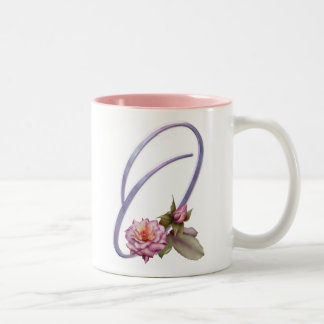 Pink Roses Monogram O Two-Tone Coffee Mug