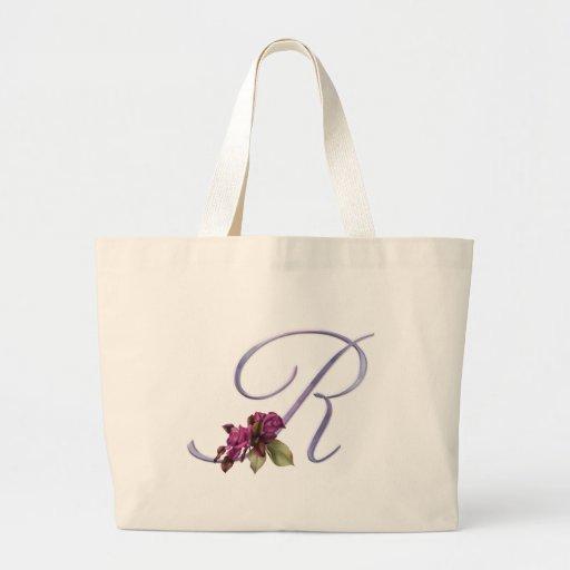 Pink Roses Monogram R Jumbo Tote Bag