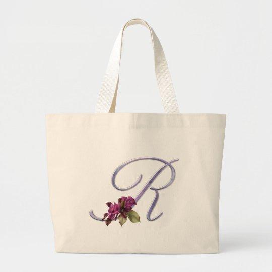 Pink Roses Monogram R Large Tote Bag