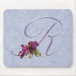 Pink Roses Monogram R Mouse Pad