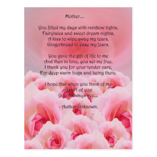 Pink Roses Mother's Day Post Card