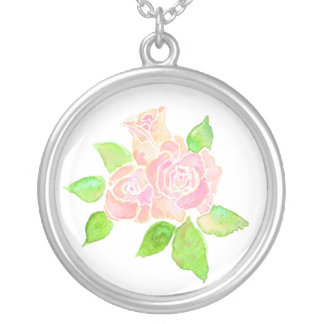 Pink Roses Necklace: June Birth Month Flower Round Pendant Necklace