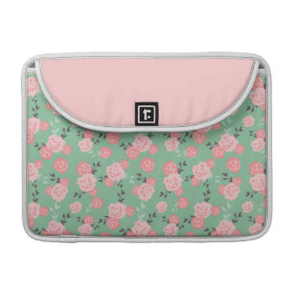 pink roses on a mint background sleeve for MacBooks