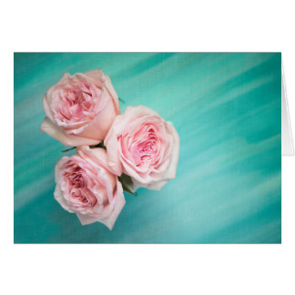 Pink Roses on Aqua Teal Background Greeting Card