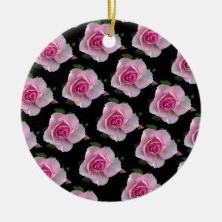 pink roses on black ceramic ornament