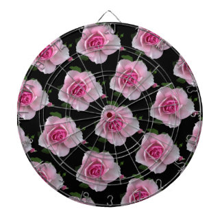 pink roses on black dartboard
