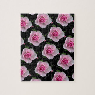 pink roses on black jigsaw puzzle