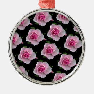 pink roses on black metal ornament