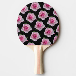 pink roses on black ping pong paddle