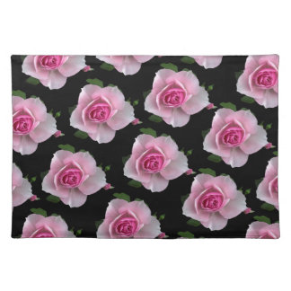 pink roses on black placemat