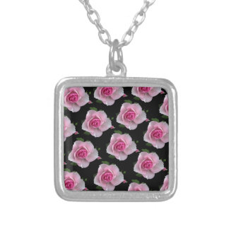 pink roses on black silver plated necklace