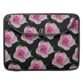 pink roses on black sleeve for MacBooks