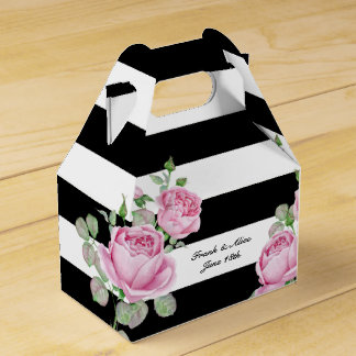 Pink Roses on Black Stripes Custom Favor Box