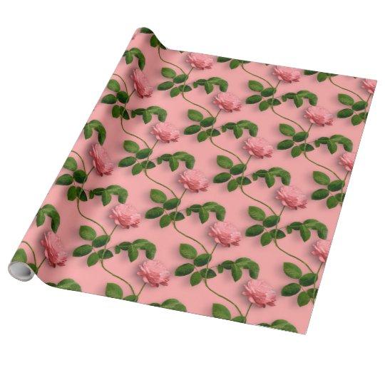 Pink Roses On Green Stem Pattern