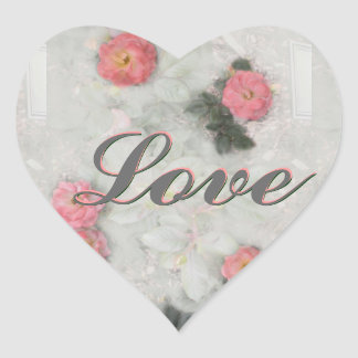 Pink Roses on Grey Heart Sticker