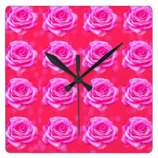 Pink Roses On Pink Bokeh, Square Wall Clock