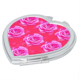 Pink Roses On Pink Bokeh, Travel Mirror