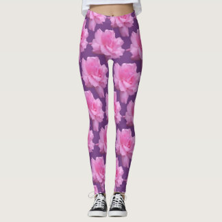 Pink Roses On Purple Background Leggings