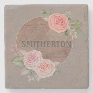 Pink Roses on Rustic Brown Wood Monogram Coaster