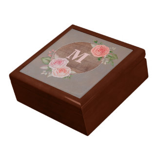 Pink Roses on Rustic Wood Monogram Gift Box