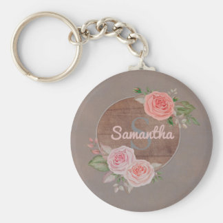 Pink Roses on Rustic Wood  Monogram Keychain