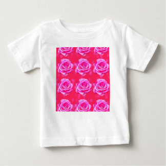Pink Roses On Sparkle Pink Bokeh,- Baby T-Shirt