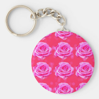 Pink Roses On Sparkle Pink Bokeh,- Basic Round Button Keychain