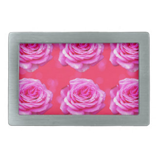 Pink Roses On Sparkle Pink Bokeh,- Belt Buckle