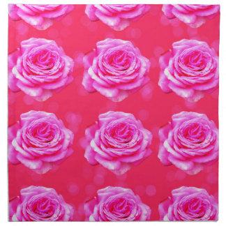 Pink Roses On Sparkle Pink Bokeh,- Napkin