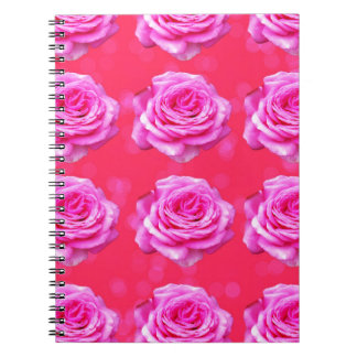 Pink Roses On Sparkle Pink Bokeh,- Notebooks