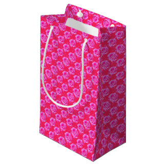 Pink Roses On Sparkle Pink Bokeh,- Small Gift Bag
