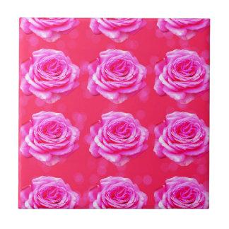 Pink Roses On Sparkle Pink Bokeh,- Tile
