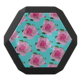 pink roses on teal black bluetooth speaker