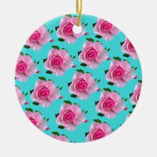 pink roses on teal ceramic ornament