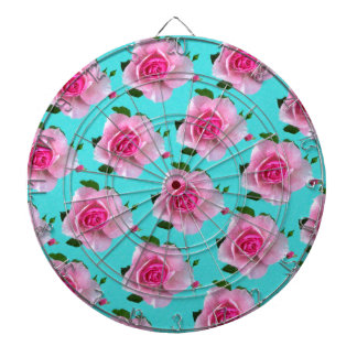 pink roses on teal dartboard